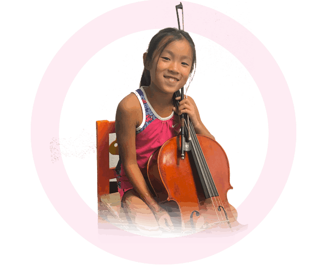 asian girl laughing and holding cello at orange county cello lessons